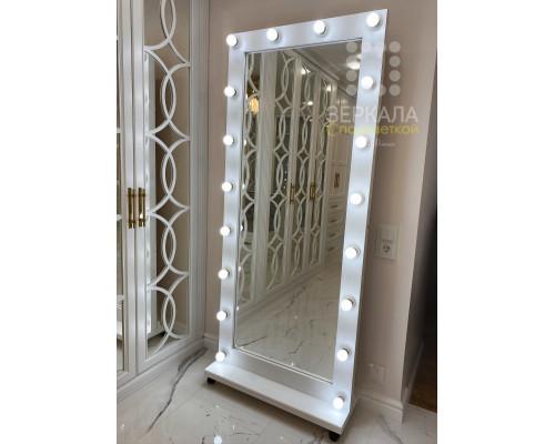 Гримерное зеркало белого цвета 180х80 из массива сосны на подставке